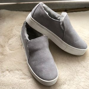 Grey Warm Lined Slip On Shoes!